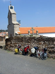 Our bikes by the church in Atenor