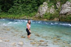 Friedel wading in the Soca river