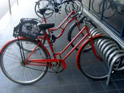 A bike with a funny front brake
