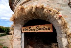 Wheat covered the arched doorway