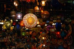 The lights of a lamp shop in the Istanbul bazaar
