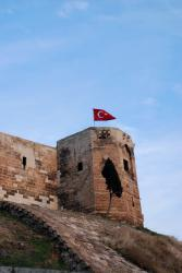Turkish flag flying from Gaziantep's citadel
