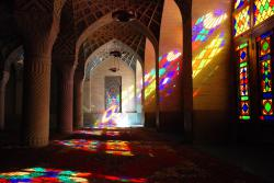 Colour streams in everywhere at the Nasir al Molk Mosque