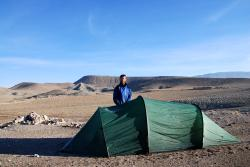 Andrew and our tent, no one around for miles