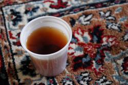 A cup of tea on the carpet