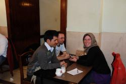 New friends in the Naderi coffee shop
