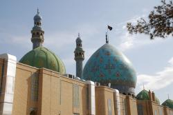 The domes are two colours, blue and green