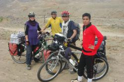 Us with an Iranian national cyclist