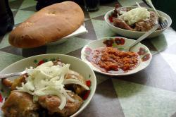 A lunchtime meal in Turkmenistan