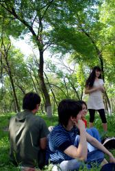 Playing games in a park with some Kazakhs