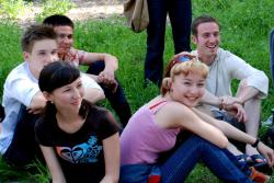 Happy English students in Shymkent
