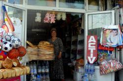 A cheery shopkeeper