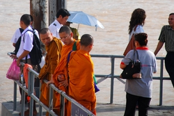 Monks waiting for a ferry