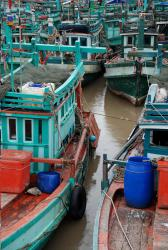 Fishing boats close up