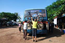 Loading the bikes onto a bus. Eeeek!