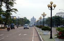 Vientiane and a view of the triumphal arch