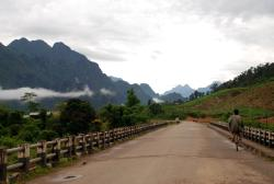 Leaving Vang Vieng on a cloudy day