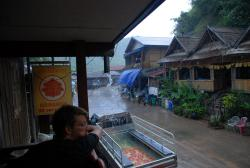 Watching the rain come down in Pakbeng