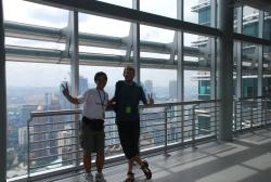 Meng and Andrew on the skybridge