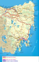 Bike Touring Route in Tasmania