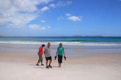 Marj, Peter and Andrew on Squeaky Beach