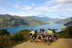 Our bikes overlooking the Queen Charlotte Sounds