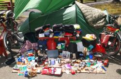 All our stuff, piled up in front of the tent. Whoa!