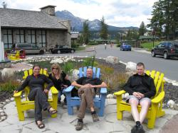Relaxing on the deck chairs in Jasper