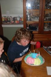 Blowing out 10 candles