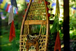 Snowshoes and prayer flags