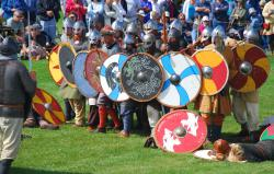 Viking Shields on display during Icelandic Days in Gimli