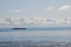 A tanker on the St. Lawrence River speeding along