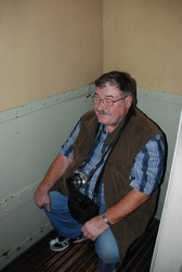 Paul trying out some ship toilets, as it once was, in the Immigration Museum, Bremerhaven