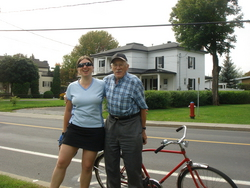Friedel and a local character, who stopped by to tell us about the cycle paths in the area and his time in the war