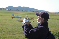 Richard, a fellow cyclist, and his trumpet