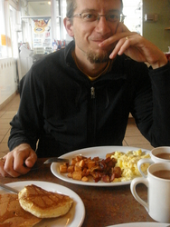 Breakfast at a local cafe -- the Esso in Kinkora