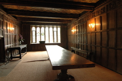A wood panelled dining room