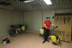 Bikes out of boxes and ready to go at Heathrow