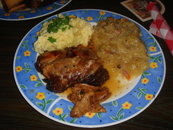 Pork shanks, sauerkraut and potatoes