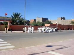 A marching band, going through Zagora before a football match
