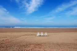 Beach chairs on the sand, outside Agadir